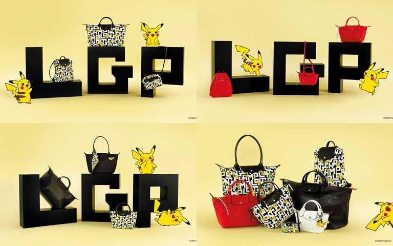 Longchamp x Pokémon聯名系列將獨有印花表現在各種包型上。(圖/Longchamp)