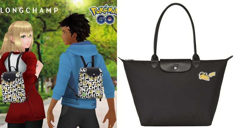 台北101獨賣的Longchamp x Pokémon聯名系列Le Pliage尼龍肩揹包,建議售價NT5,800。(圖/Longchamp)