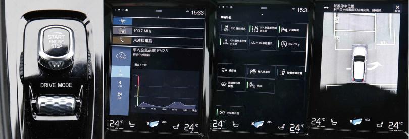 中控台為9吋觸控螢幕,包括影音、電話、空氣潔淨及駕駛模式等功能,都可透過觸控或排檔桿下方的「Drive 旋鈕」設定。(圖/趙世勳攝)