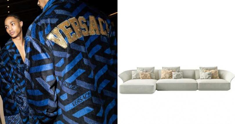 由梅杜莎肖像衍伸出的 Medusa Amplified 圖案,在2021秋冬時裝週後台搶先亮相。風格現代的 Goddess 沙發,則披上源自經典皮革外套輪廓的優美曲線。(圖/品牌提供)
