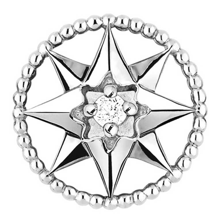 DIOR「Rose des Vents羅盤玫瑰」系列,白K金鑽石單邊耳環╱37,900元。(圖╱DIOR提供)