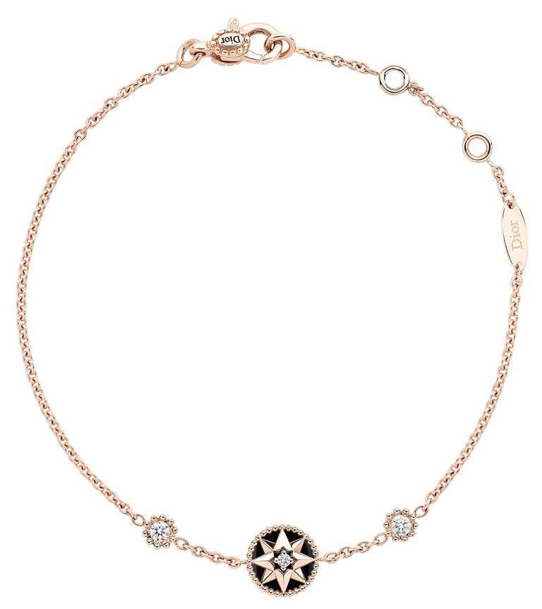 DIOR「Rose des Vents羅盤玫瑰」系列,玫瑰金穀粒鑲嵌鑽石手鍊╱79,500元。(圖╱DIOR提供)