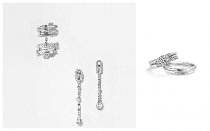 Hermès Petit Jeté (左上)白K金鑲白鑽六環戒指/ 3,502,800元 (中)白金鑲白鑽不對稱造型耳環/2,972,100元(右)GINZA DIAMOND SHIRAISHI銀座白石Ino套戒:鑽戒/ 29,000元起(標示僅為空戒台之價格);對戒/ 77,000元。(圖/業者提供)