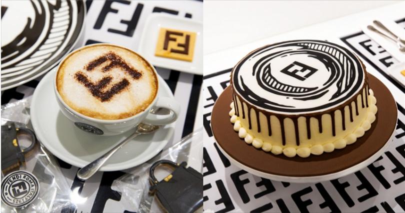 飲品、蛋糕上也有經典FENDI雙 FF logo幾何圖案,處處充滿巧思,讓人感覺備受款待!(圖/FENDI提供)