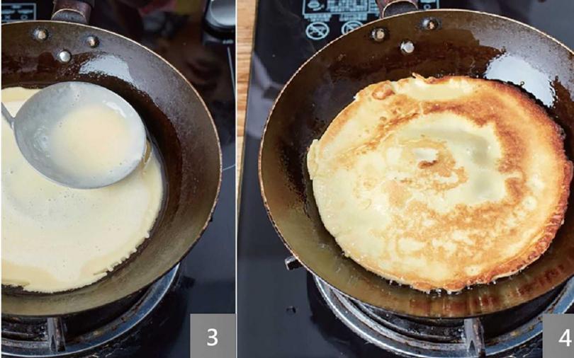 (3)入油煎餅。(4)煎兩面黃、起鍋抹醬。