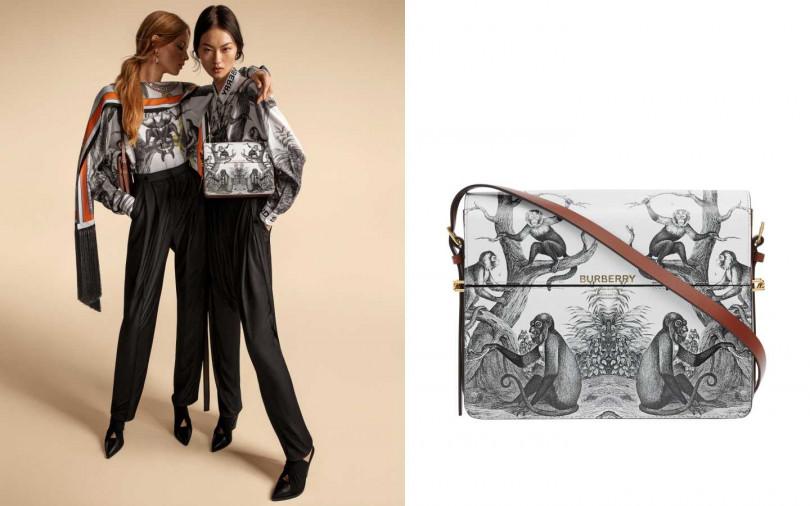 不僅包款,古典猴群印花同樣呈現在絲質襯衫上。BURBERRY 古典猴群印花Grace 包/49,900元(圖/品牌提供)