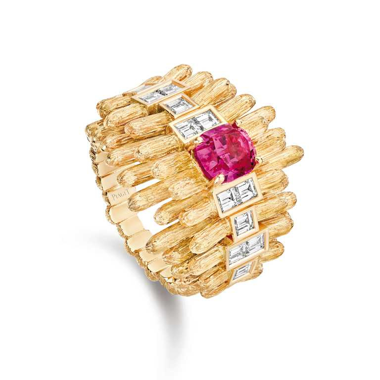PIAGET「Golden Oasis」頂級珠寶系列╱Play of Lights「夕暉之彩」尖晶石頂級珠寶鑽石戒指╱2,280,000元。(圖╱PIAGET提供)