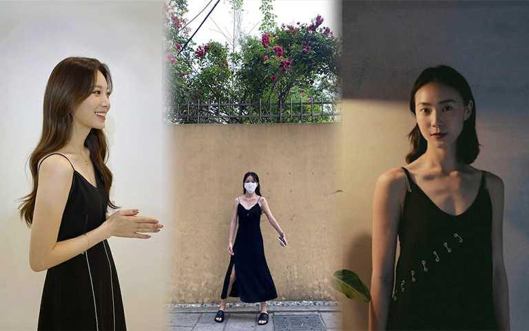 大膽地露出肩頸線條的細帶洋裝,選擇黑色款式更有種高級性感風。(圖/yura_936_ IG,jiminbaby_18_ IG,aviis_zhong_ IG)