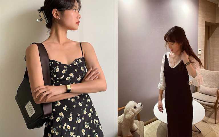 不敢單穿的女孩也可以內搭薄料上衣,創造層次展現不同感覺。(圖/the_ketchap_ IG,hyunah_aa IG)