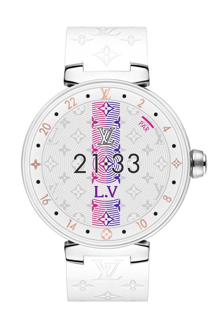 LOUIS VUITTON「Tambour Horizon智能腕錶」Pure White拋光白瓷款,拋光白瓷錶殼,42mm╱156,800元。(圖╱LOUIS VUITTON提供)