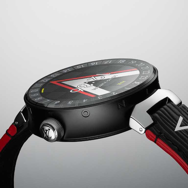 LOUIS VUITTON「Tambour Horizon智能腕錶」Matte Black啞黑色PVD飾面款,磨砂精鋼錶殼,42mm╱112,300元。(圖╱LOUIS VUITTON提供)
