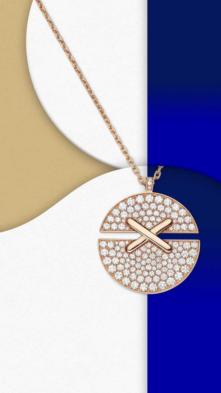 CHAUMET「Juex de Liens Harmony」系列,18K玫瑰金鑽石吊墜(大型款)╱價格店洽。(圖╱CHAUMET提供)