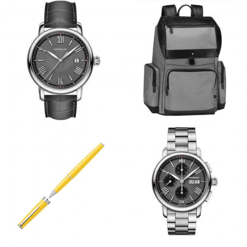 萬寶龍明星傳承系列腕錶,NT$102,000~160,800,夜航系列大型後背包,NT$26,300、PIX鋼珠筆,NT$8,700。