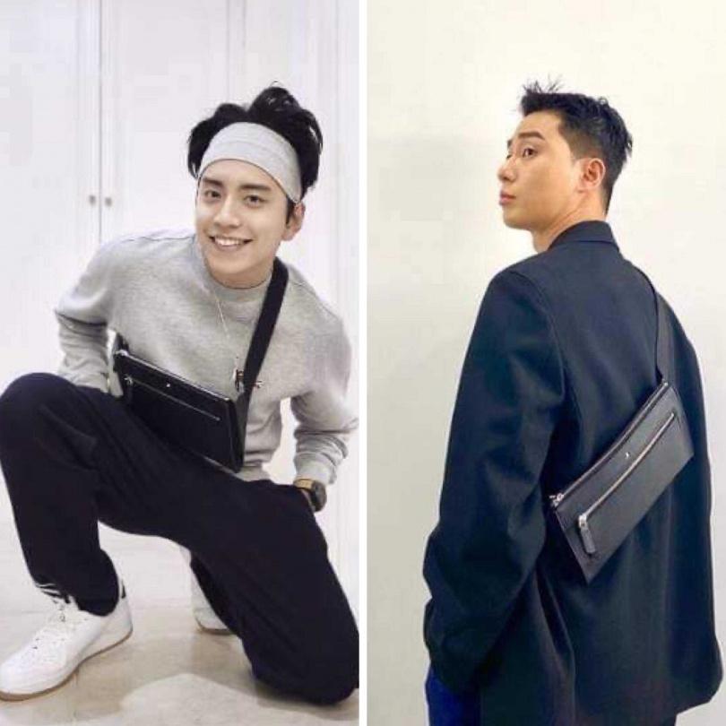 人氣韓星朴敘俊及台灣男星王大陸,有志一同選擇該系列單肩後背包為簡約的服裝造型增添隨性風格。