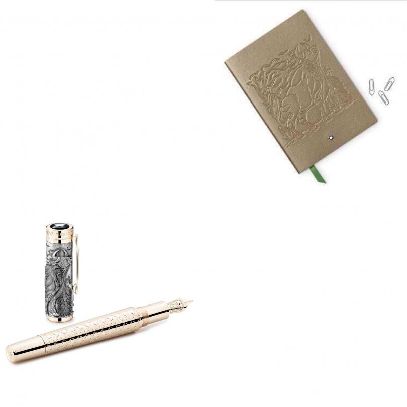 萬寶龍「牛」轉乾坤 生肖與符號系列牛年限量款512鋼筆,NT$177,100「灰黃」迎新 筆記本,NT$2,700。