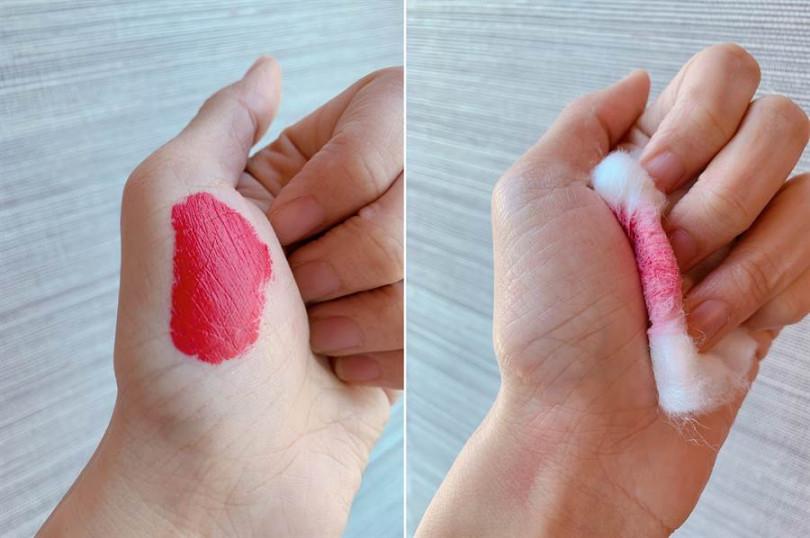 很多人對這種飽和色霧面唇釉的印象都會覺得很難卸除,但這支實測即使是大紅色也完全不留痕跡。(圖/吳雅鈴攝影)