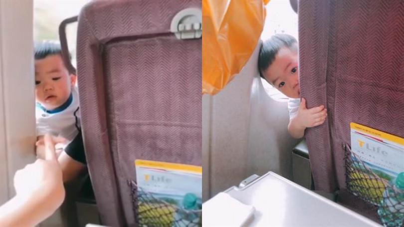 擁有大批粉絲的蔡阿嘎兒子「蔡桃貴」在高鐵上騷擾乘客,模樣有夠可愛。(圖/翻攝自嘎嫂二伯臉書)