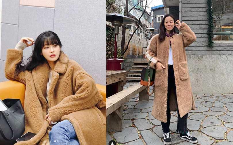 韓國時尚明星們最近IG都曬咖啡色過膝長外套,內搭夠簡單就保暖時尚。(圖/moonjungwon IG,ohvely22 IG)
