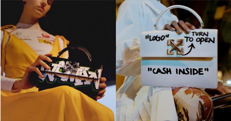 首推前衛塗鴉款,成為眾人焦點!左: JITNEY包款系列-1.0黑色塗鴉包/NT 32,200,右: JITNEY包款系列-1.4 Cash Inside白色塗鴉包/NT 36,500。(圖/品牌提供)