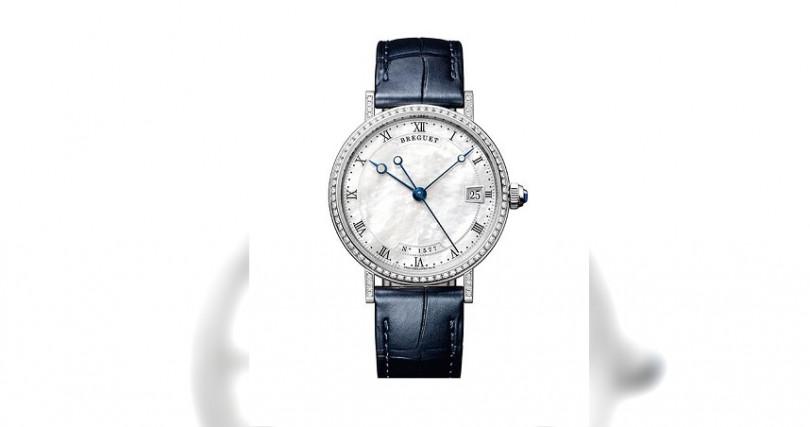 BREGUETClassique 9068錶殼:18K白金材質/錶徑33.5mm/錶圈鑲鑽88顆,約0.6克拉機芯:591A自動上鍊/儲能38小時功能:大三針/日期防水:30米定價:856,000元
