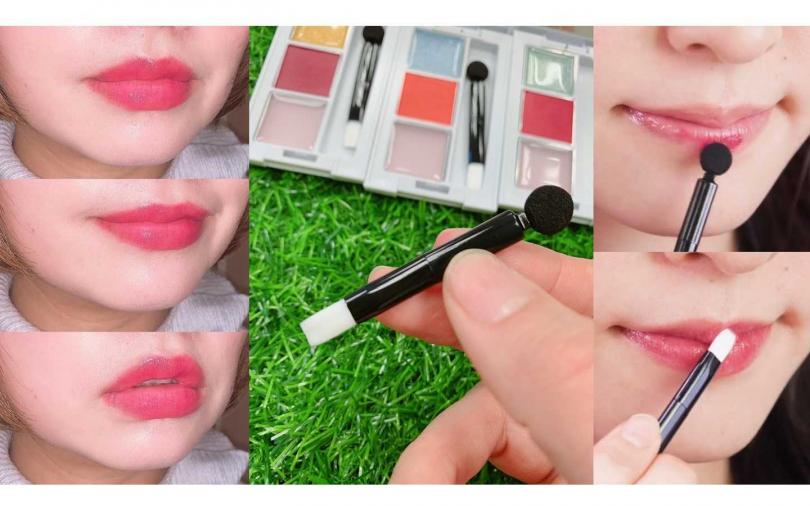 有附雙頭刷具,唇棒跟唇刷可分別沾取唇粉跟唇蜜使用。(圖/吳雅鈴攝影、IG@kalos.tv、IG@haaa6207)