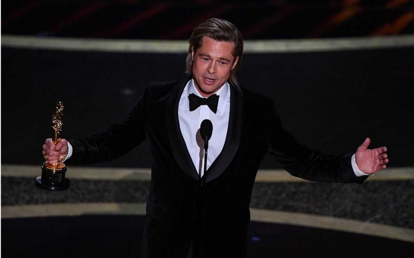 布萊德彼特以《從前,有個好萊塢》一片拿下最佳男配角獎。(圖/達志/美聯社)