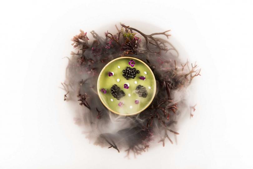 魚子醬微藻海膽布丁。(圖/鹽之華提供)