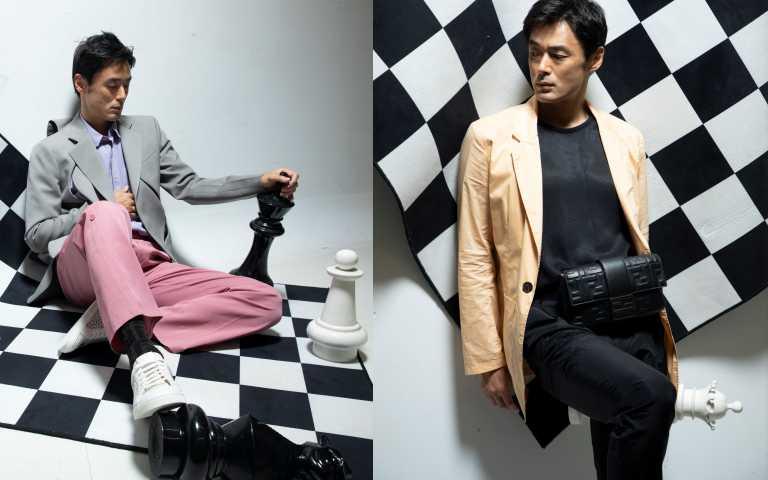 (右)PETER WU 薄西裝外套/10,710元;PETER WU黑色坦克背心/4,080元;FENDI 黑色男仕設計Baguette/92,000元,FENDI黑色褲子/24,500元。(左)LOUIS VUITTON灰色雕塑型外套/183,000元;正面DNA襯衫/23,100元;粉紅色皺褶長褲41,900元;FENDI白色設計男仕鏤空休閒鞋/價格未定