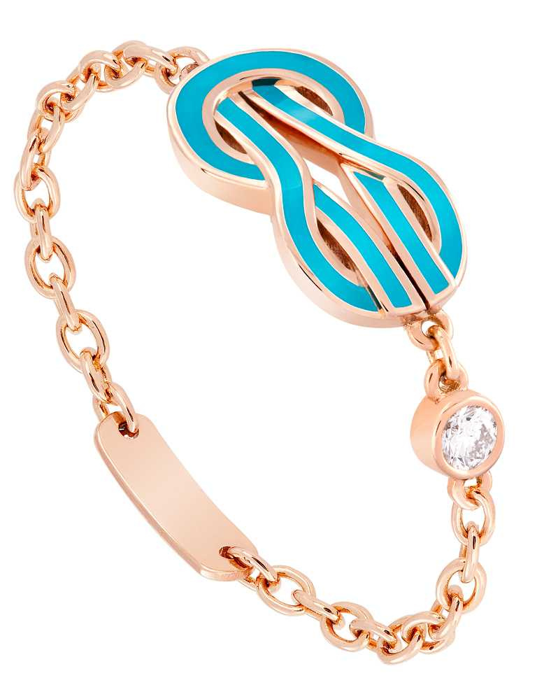 FRED「Chance Infinie系列」綠松石漆面玫瑰金戒指,飾以1顆明亮式切割鑽石╱34,800元。(圖╱FRED提供)