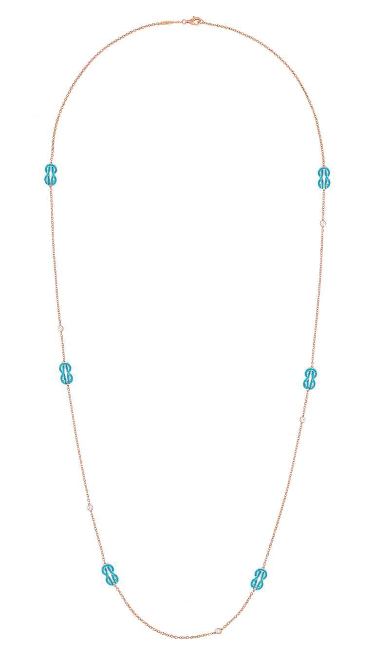 FRED「Chance Infinie系列」綠松石漆面玫瑰金長項鍊,飾以5顆明亮式切割鑽石╱價格店洽。(圖╱FRED提供)