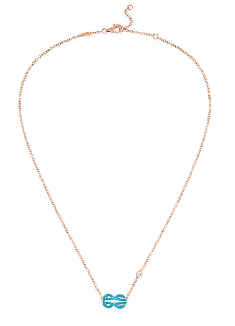 FRED「Chance Infinie系列」綠松石漆面玫瑰金長項鍊,飾以1顆明亮式切割鑽石╱68,500元。(圖╱FRED提供)