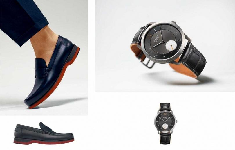 (左)HERMES Bob 系列莫卡辛小牛皮鞋/28,700元(右)Slim d'Hermès鈦金屬腕錶/244,700元(圖/品牌提供)