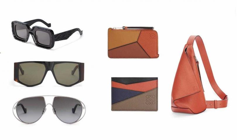 (左)LOEWE太陽眼鏡/10,950元、(左中)LOEWE太陽眼鏡/12,200元、(左下))LOEWE太陽眼鏡/11,100元;(中上)LOEWE Puzzle小牛皮多功能卡夾零錢包/13,000元、(中下)LOEWE Puzzle小牛皮卡夾/8,800元;(右)LOEWE Anton系列小牛皮單肩背包/51,000元(圖/品牌提供)
