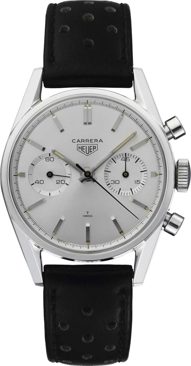 TAG HEUER「Carrera Heuer 3647」古董錶,首款為車手與運動愛好者而設之賽車計時碼錶。(圖╱TAG HEUER提供)