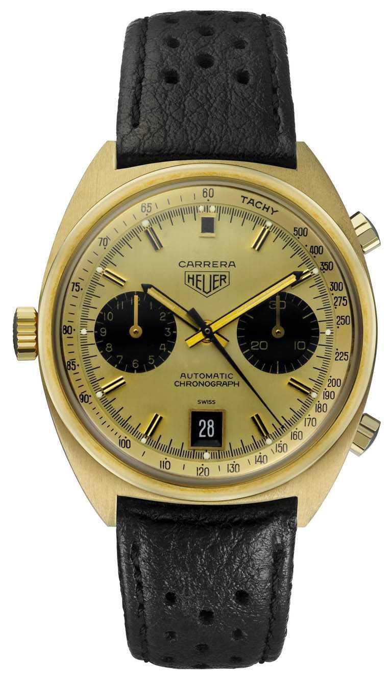 TAG HEUER「Carrera Heuer 1158CHN」古董錶,首枚於1969年作商用之自動計時碼錶,18K黃金錶殼,素有「機師腕錶(Pilot's watch)」之稱。(圖╱TAG HEUER提供)
