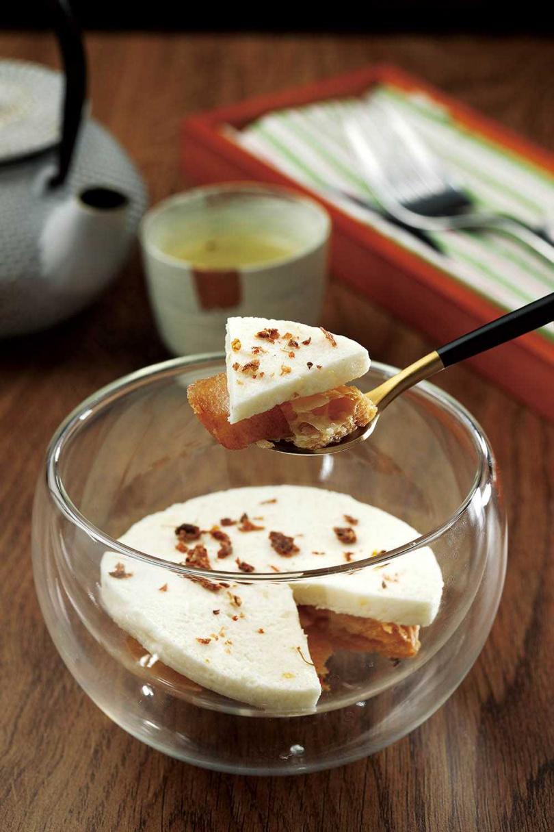 「水梨|桂花|酸梅」運用花香、梅酸,凸顯水梨的清甜。(套餐中的前菜)(圖/于魯光攝)