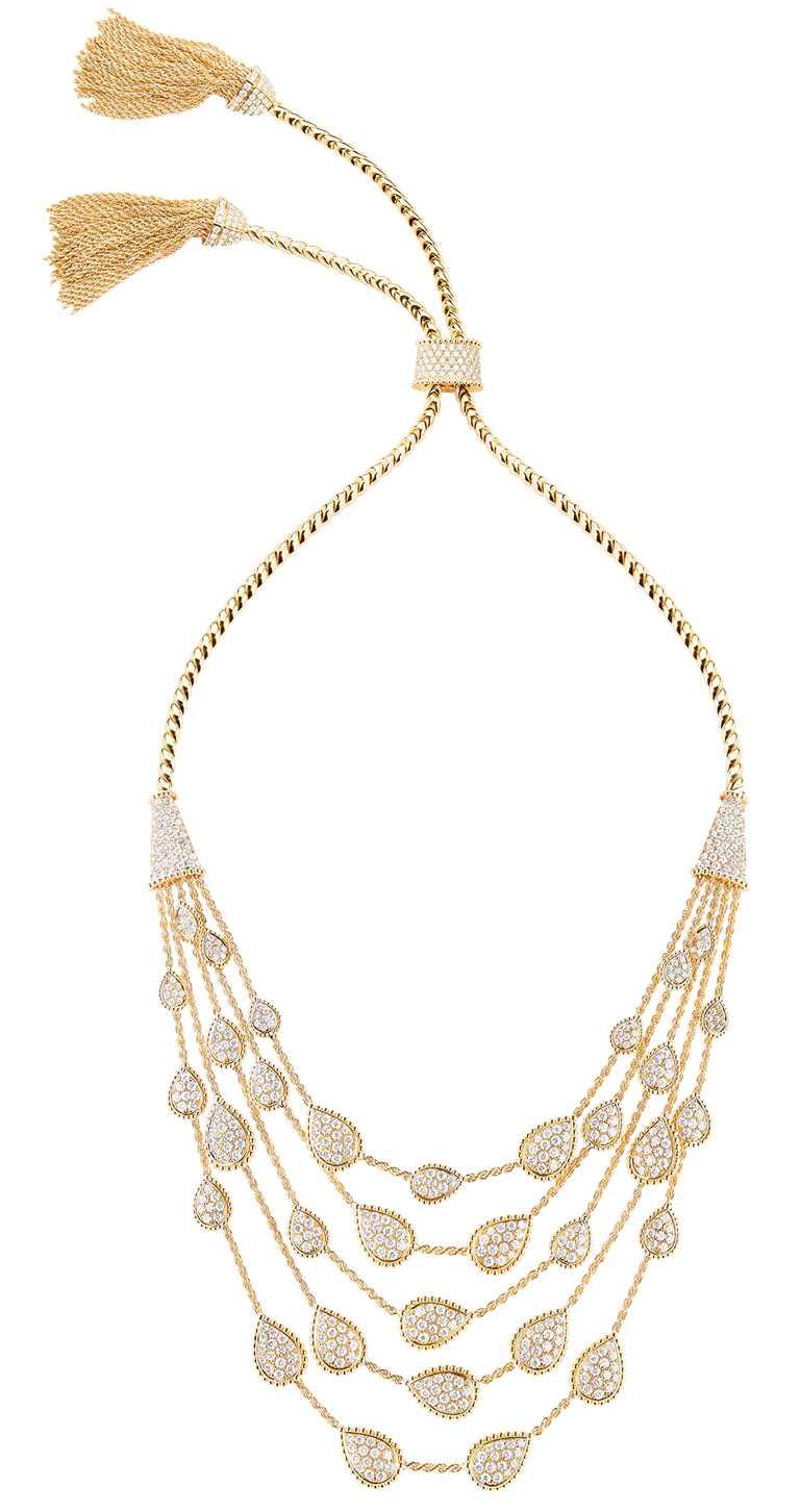 BOUCHERON「Serpent Bohème」系列,黃金鑲嵌鑽石項鍊╱價格店洽。(圖╱BOUCHERON提供)