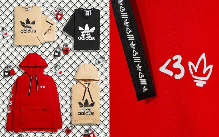 情人節系列服裝以T恤、連帽T穿搭出街頭時髦情侶Style。(圖/adidas Originals)