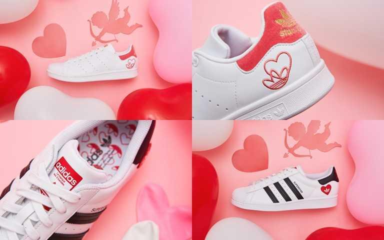 鞋款上以愛心變化出獨特的細節圖案,充滿甜甜的戀愛心情。(圖/adidas Originals)