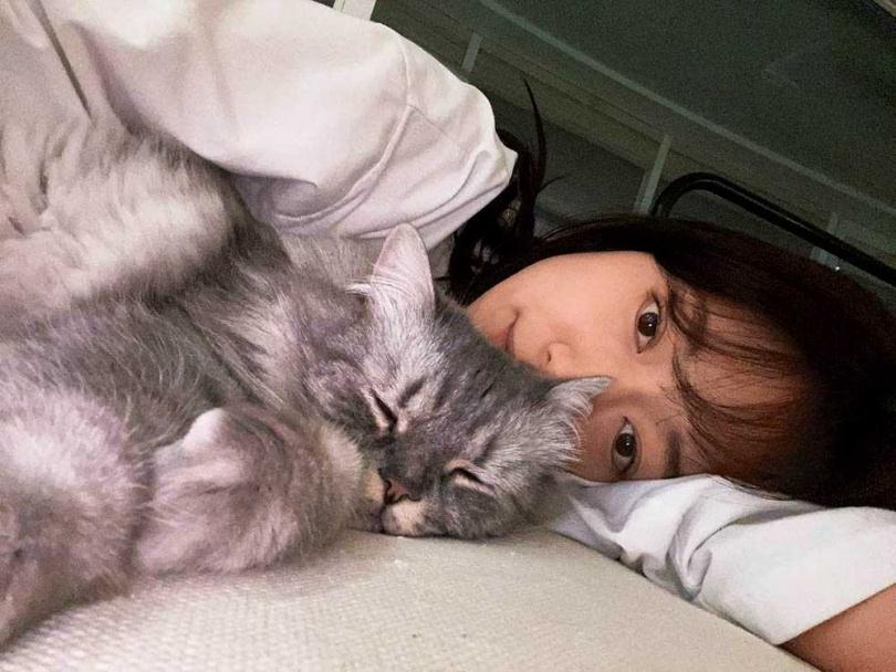 放假期間,朴信惠除了運動就是在家玩貓。(圖/翻攝自朴信惠IG)