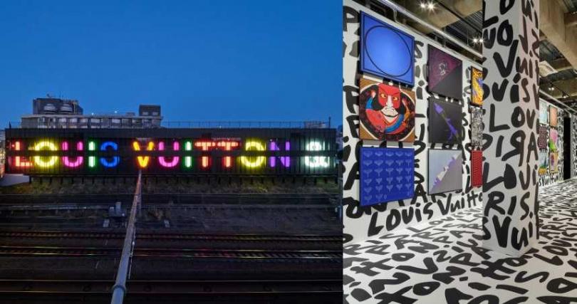不只費心打造內部展間,更以霓虹燈藝術將 LOUIS VUITTON & 字樣點亮東京澀谷的夜晚。透過畫作、圖像藝術將日本與巴黎做出巧妙連結。(圖/品牌提供)