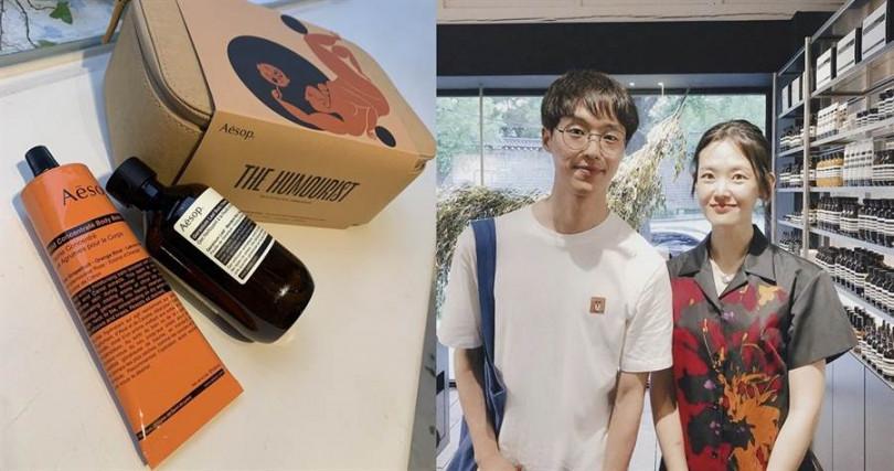 Aesop 2019年度禮盒系列-幽默家/1,700元  禮盒內包含天竺葵身體潔膚露200ml+橙香身體乳霜120ml。是不論男生女生都會覺得很療癒放鬆的味道。(圖/吳雅鈴攝影、IG@nangman_daily)