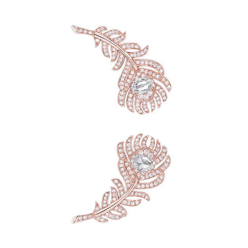 BOUCHERONPlume de Paon耳環玫瑰金材質/2顆玫瑰形切割鑽石,約0.45克拉/定價:554,000元