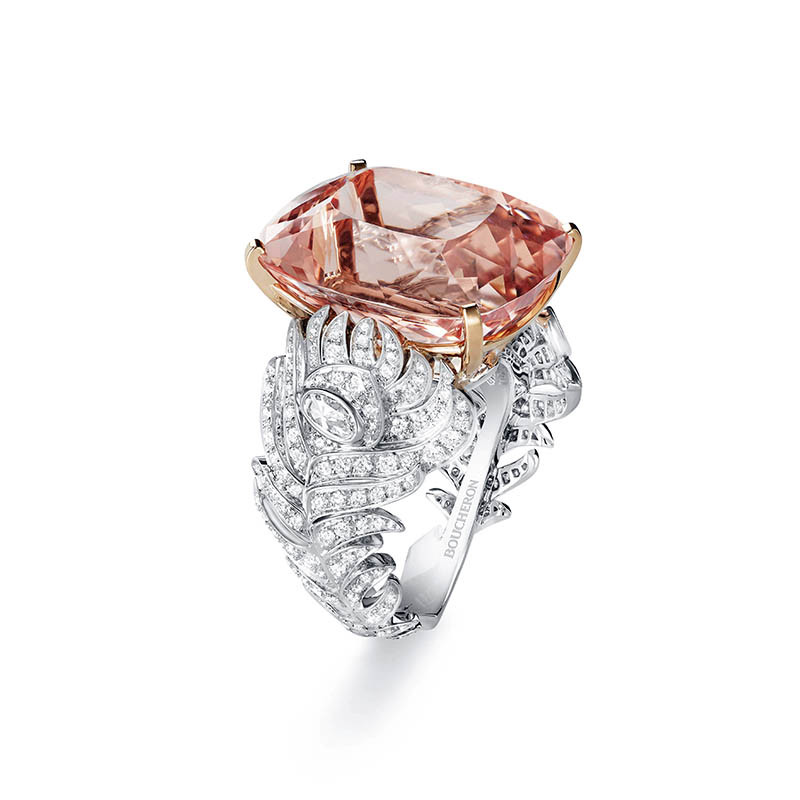 BOUCHERONPlume de Paon戒指白K金材質/玫瑰形切割摩根石,約19.42克拉/定價:2,610,000元