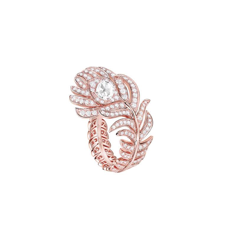 BOUCHERONPlume de Paon戒指玫瑰金材質/玫瑰形切割鑽石,約0.23克拉/定價:396,000元