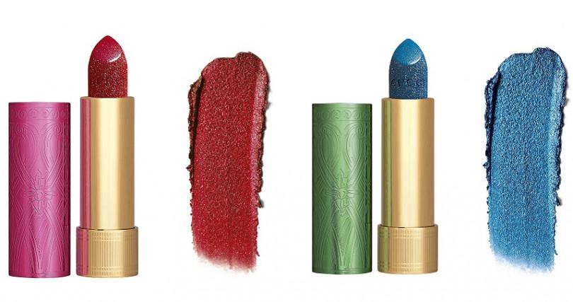<左起>GUCCI限量版炫閃系列唇膏 #25、#710/1,450元 唇蓋刻意跟唇膏是不同顏色,增添視覺趣味度。(圖/品牌提供)