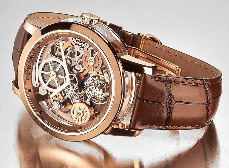 CORUM「LAB 02系列」飛行陀飛輪限量腕錶,玫瑰金款,45mm,限量10只╱6,360,000元。(圖╱CORUM提供)