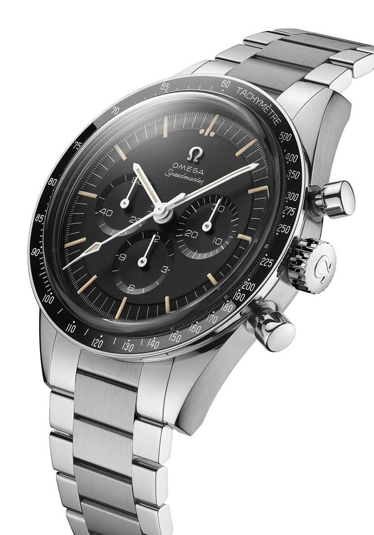 OMEGA「Speedmaster超霸系列321機芯」登月計時腕錶,不鏽鋼錶殼,39.7mm,321型手動上鏈機芯╱459,300元。(圖╱OMEGA提供)