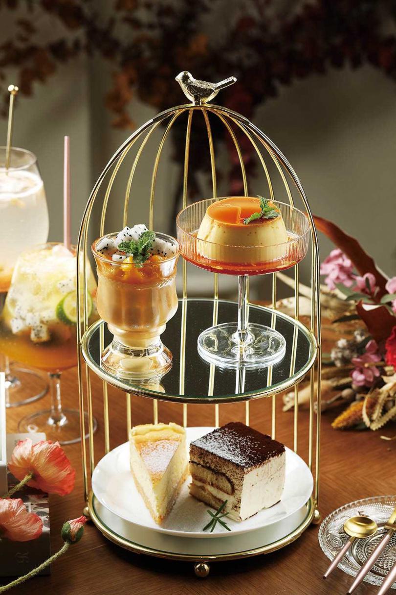 「二層鳥籠點心組」可以吃到4款甜點,比單點還划算,也適合拍照。(400元/份)(圖/于魯光攝)