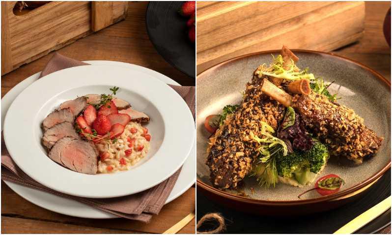 草莓燉飯-烤豬菲力(左)、蒜酥蠔汁豬棒腿。 (圖/台南大員皇冠假日酒店提供)
